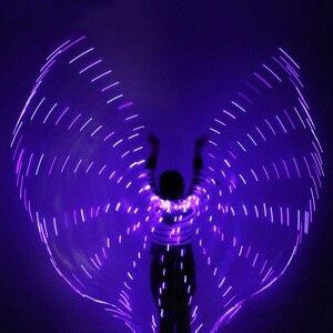 Image 4 - 2018 المرأة مصباح ليد إيزيس أجنحة البطن أزياء رقص 360 المصرية المرحلة أداء جديد وصول DJ LED أجنحة مع العصي