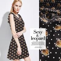 Leopard print silk fabric breathable dress fabric silk crepe de chine fabric 100 silk fabric wholesale silk cloth shirt