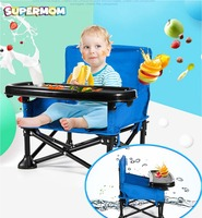 Portable Baby Booster Chair With Food Table Safety Belt Kid Feeding Highchair Toddler Dinning Seat Car Travel Picnic Camping