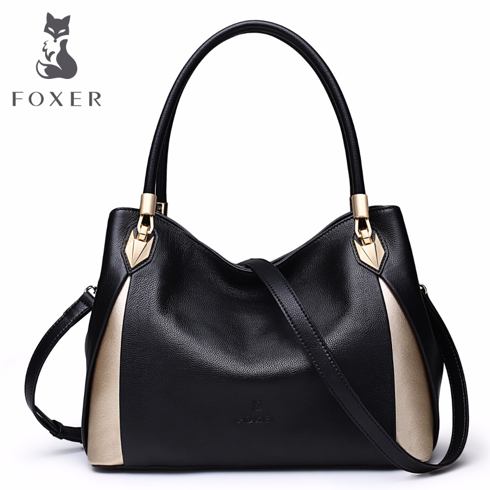 FOXER Brand Women s Leather Handbag Fashion Female Totes Shoulder Bag High Quality Handbags