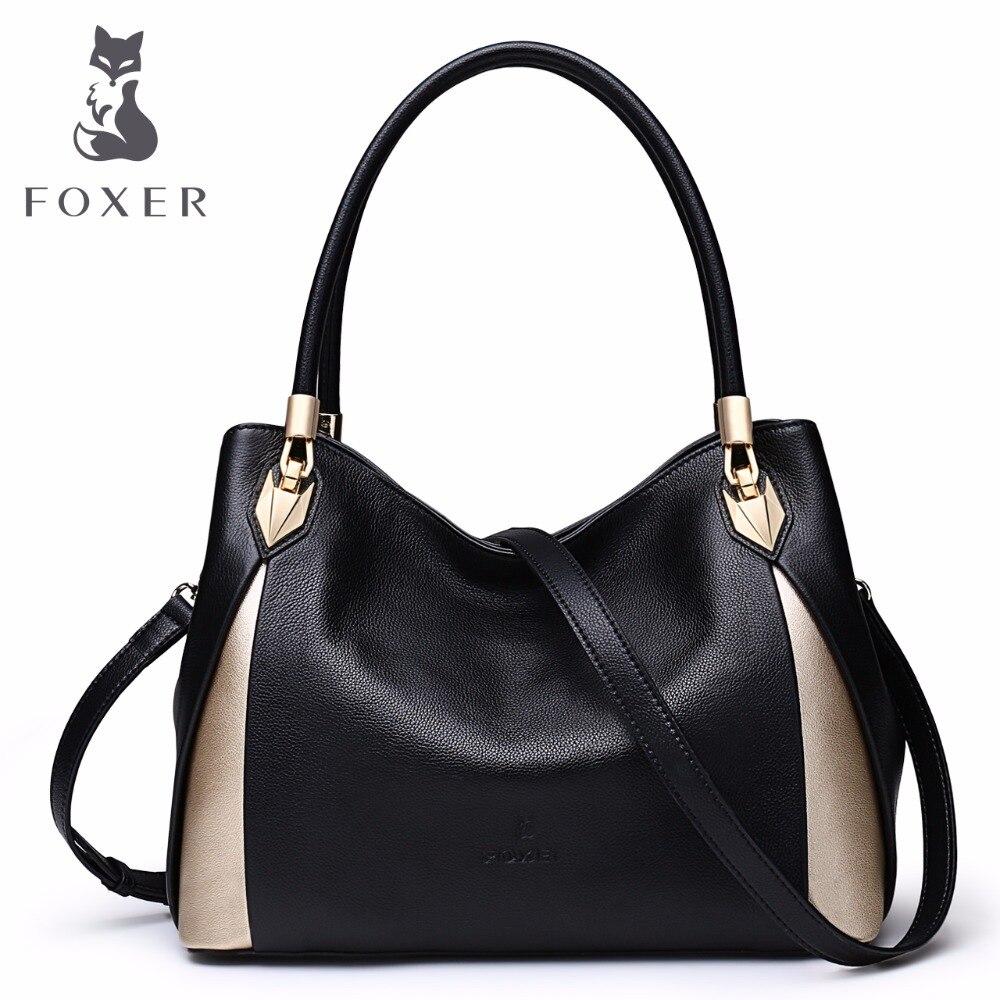 FOXER Marke frauen Leder Handtasche Mode Weibliche Totes Schulter Tasche Hohe Qualität Handtaschen-in Taschen mit Griff oben aus Gepäck & Taschen bei  Gruppe 1