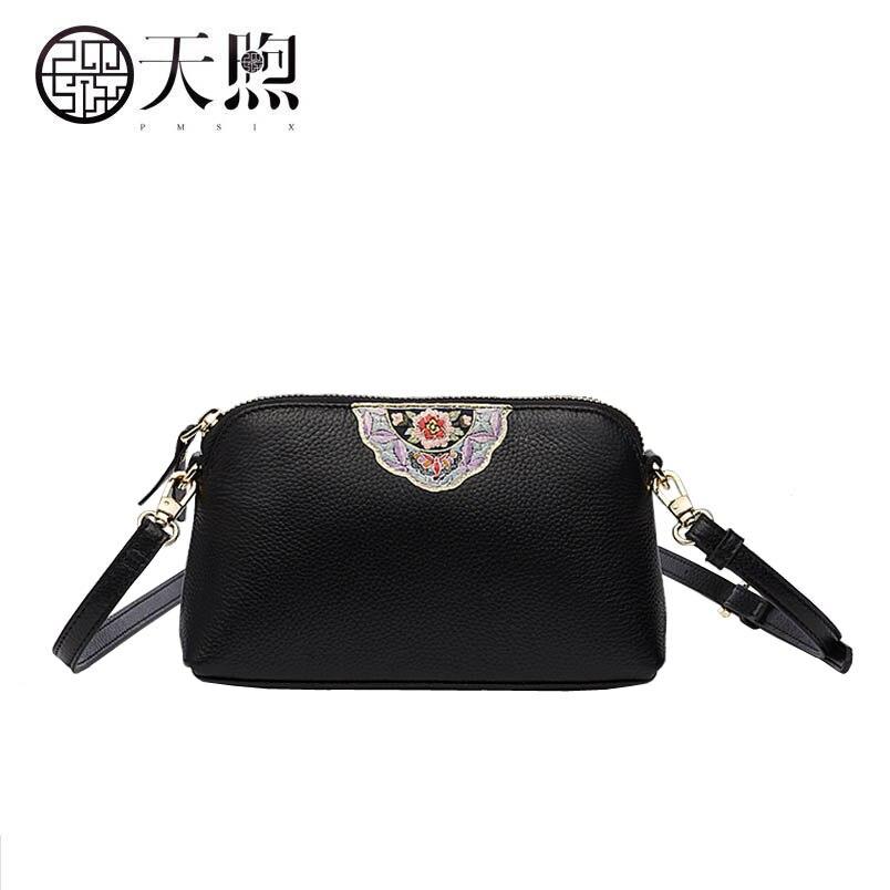 2018 Новый Pmsix превосходной натуральной кожи woemn сумка Мода Теплые вышитые леди сумочка клатч сумка