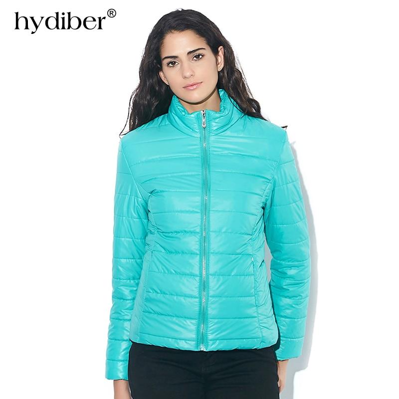 2018 lente nieuwe mode merk effen lange mouwen dames jas warme gewatteerde dames casual slanke stand kraag winterjas 269t