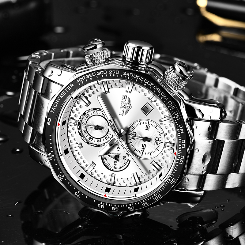 Relogio Masculino 2019 NEW LIGE Mens Watches Fashion Chronograph Watch Men Stainless Steel Waterproof Sport Watch Quartz Clock 4