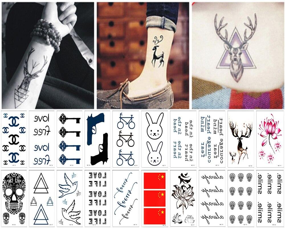 Us 737 18 Offy Xlwan 20 Sztuk Klasyczne Czarne Tatuaż Kot Ptak Fałszywy Tatuaż Ręcznie Tatouage Body Wodoodporna Tymczasowa Naklejka Tatuaż Mały W