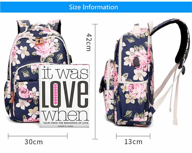 OKKID kids pink flower backpack floral school bags for teenage girls book bag cute backpacks for children girl school backpack