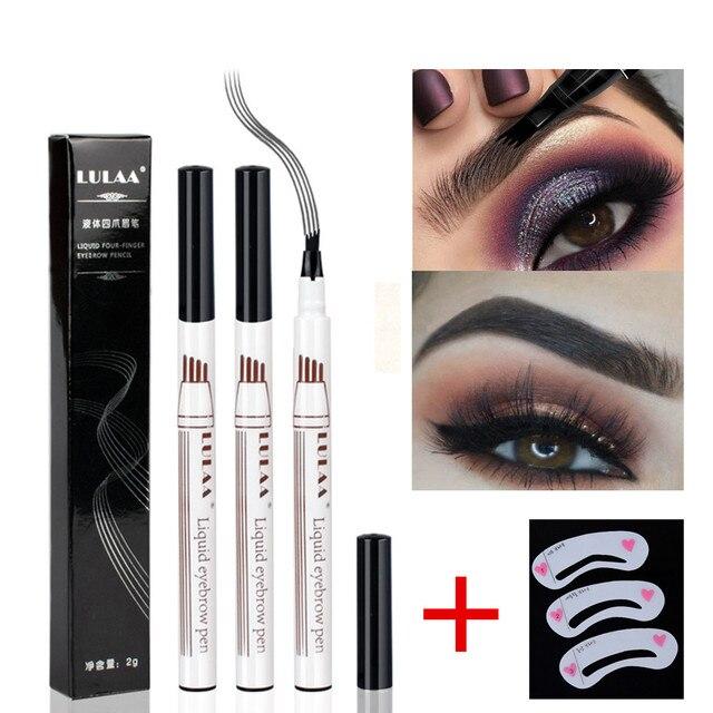 3 color eyebrow pencil Microblading tattoo pen 4 head fine grain liquid eyebrow pencil waterproof tattoo eyebrow pencil antifoul