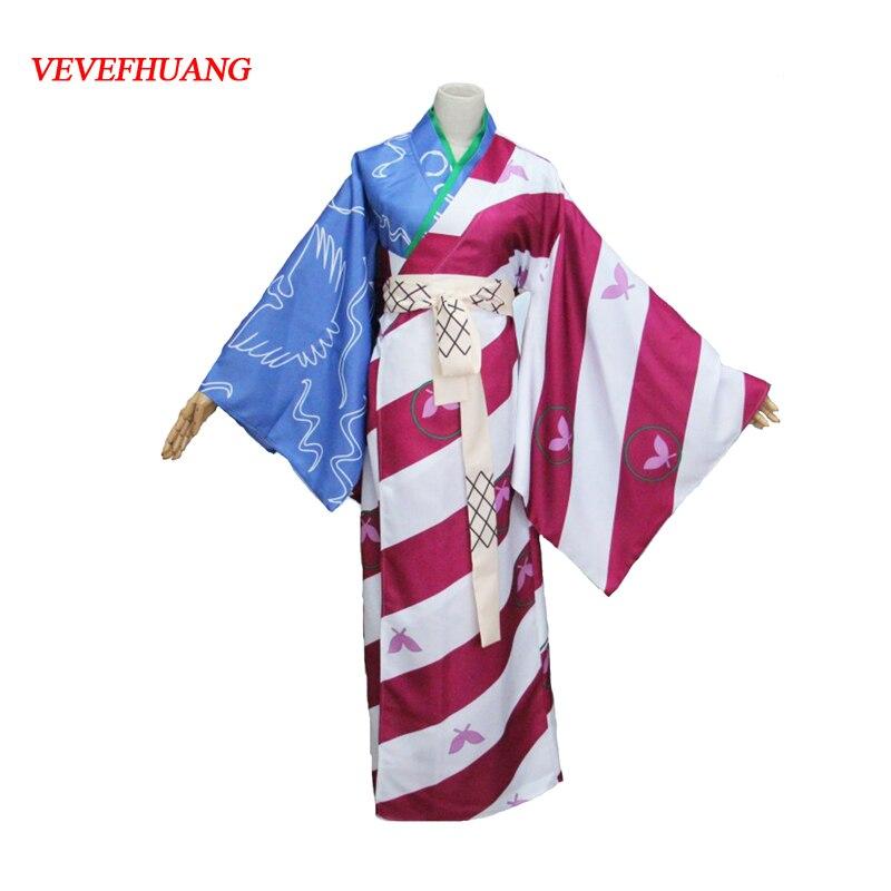 VEVEFHUANG Anime Inuyasha Kagura Cosplay Costume New version Printed Kimono Suit Dress For Women Halloween