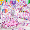 90pcs Frozen Kids Girls Disposable Paper Cups Plates Party Pack Birthday Party Decoration Set Party Supplies