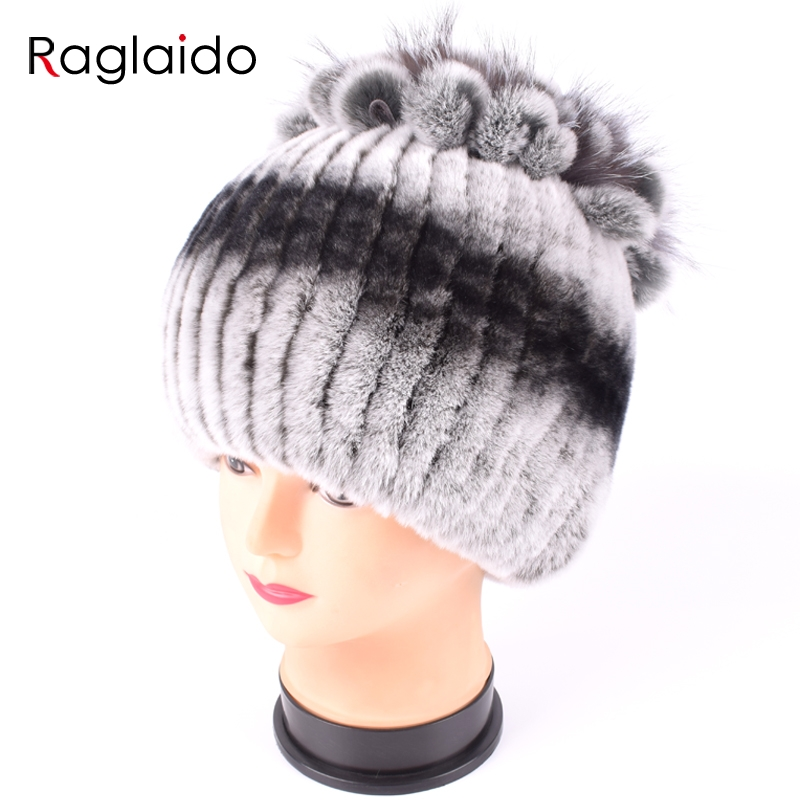 d0c9159a58a Detail Feedback Questions about Raglaido Fur Hats for Women Winter Real Rex  Rabbit Hat floral kniting female warm snow caps ladies elegant princess hat  ...