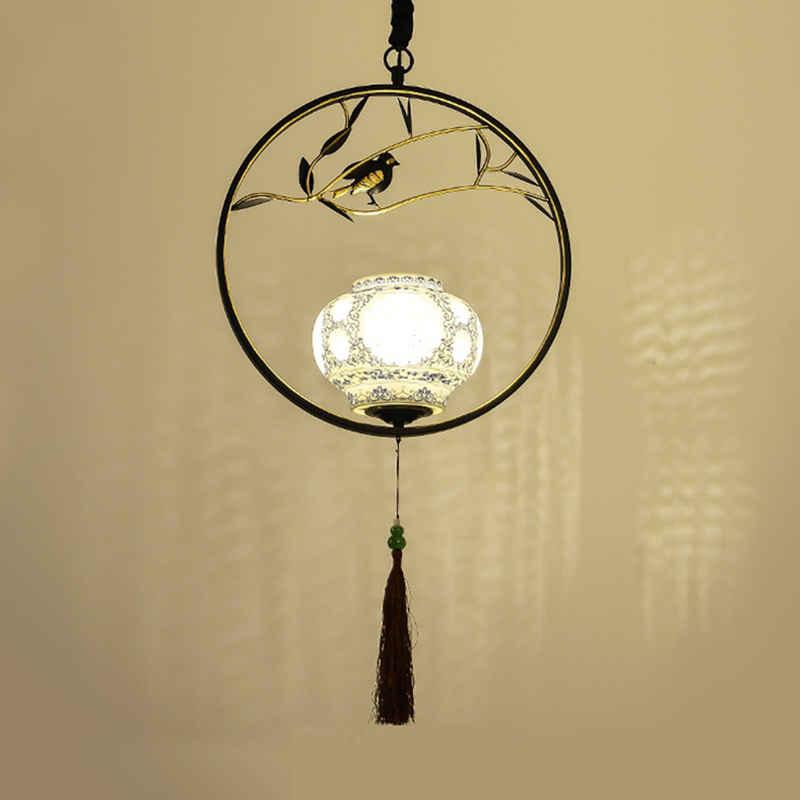 Wholesale Indoor chinese Style pendant lights dining room restaurant coffee bar hanging lamp chinese style classical wooden sheepskin pendant light living room lights bedroom lamp restaurant lamp restaurant lights