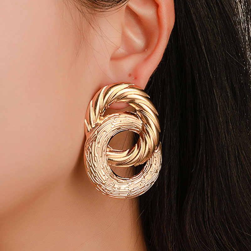 Винтажные индийские серьги женские серебряные Золотой цвет геометрический массивные серьги ZA металлические серьги T-show брендовые богемные ювелирные изделия