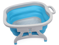 Blue and pink color silicone folding portable High quality detox foot spa massage foot wash basin