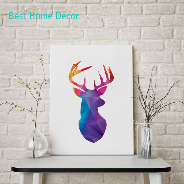 Deer Head Print Blue Red Purple Geometric Wall Art For Living Room  Decoration Wall Pictures Without