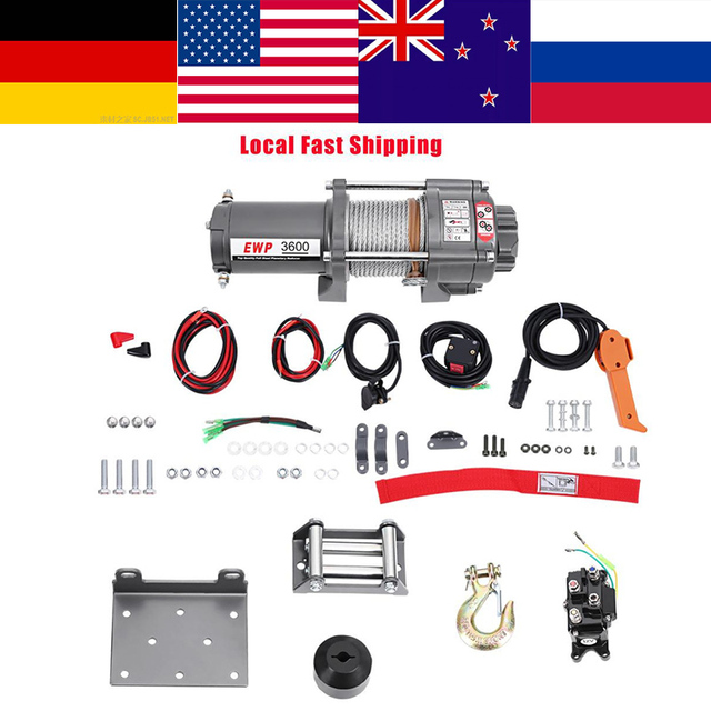 VGEBY Oversea 12V 3600LB Electric Steel Cable Powerful Winch Quad Bike ATV Boat