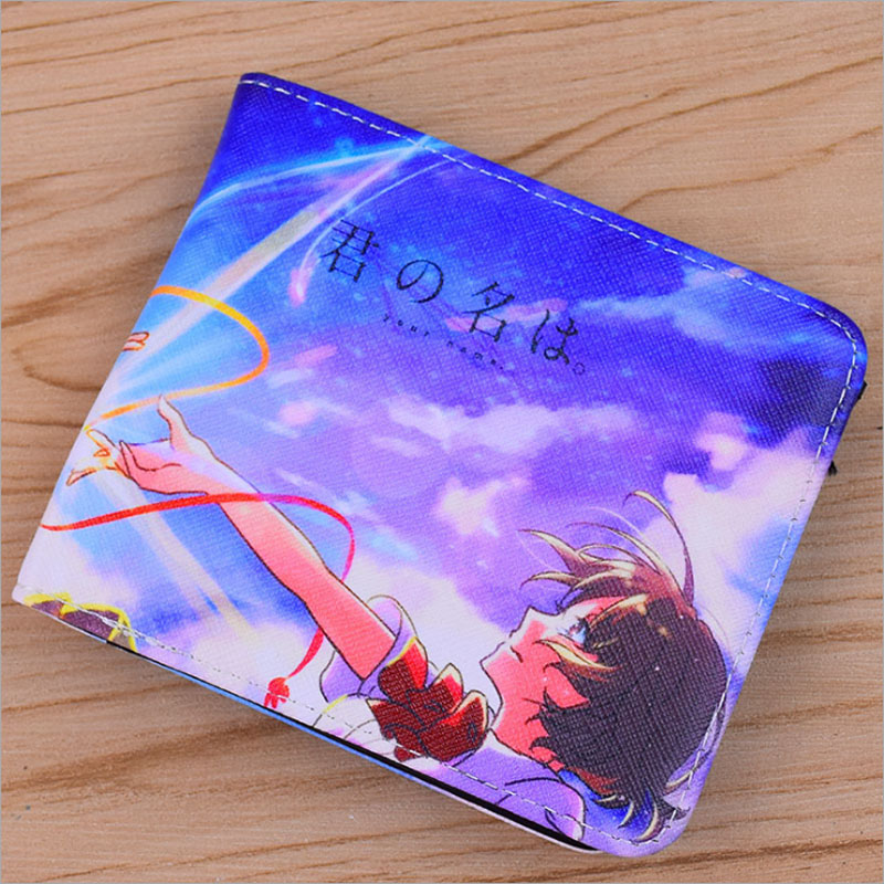Colorful PU SHort Wallet/Purse Printed With Your Name Miyamizu Mitsuha/Natsume Yuujinchou/Kumamon etc Japanese Anime