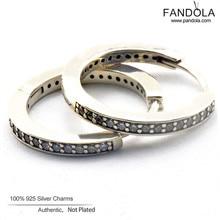 Signature Earrings 925 Sterling Silver Clear CZ Hoop Earrings for Women Pandulaso Jewelry Free Shipping