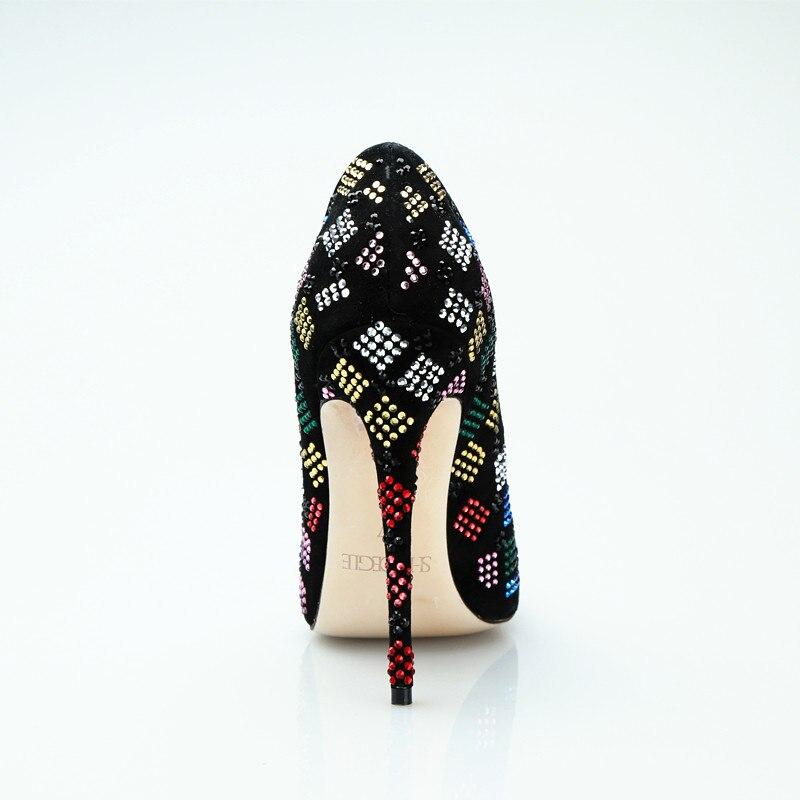Cm Hauts Pour Strass Luxe Chaussures 12 À Coloré Nouveau Femme Noires Stylets Femmes Super Souliers Talons Bal Slip De Sur Noir Parti 6qHxI