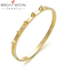 Bright Moon Fashion Zirconia Cuff Bracelet Gold color Stainless Steel Bangle For Women Bracelets Bangles