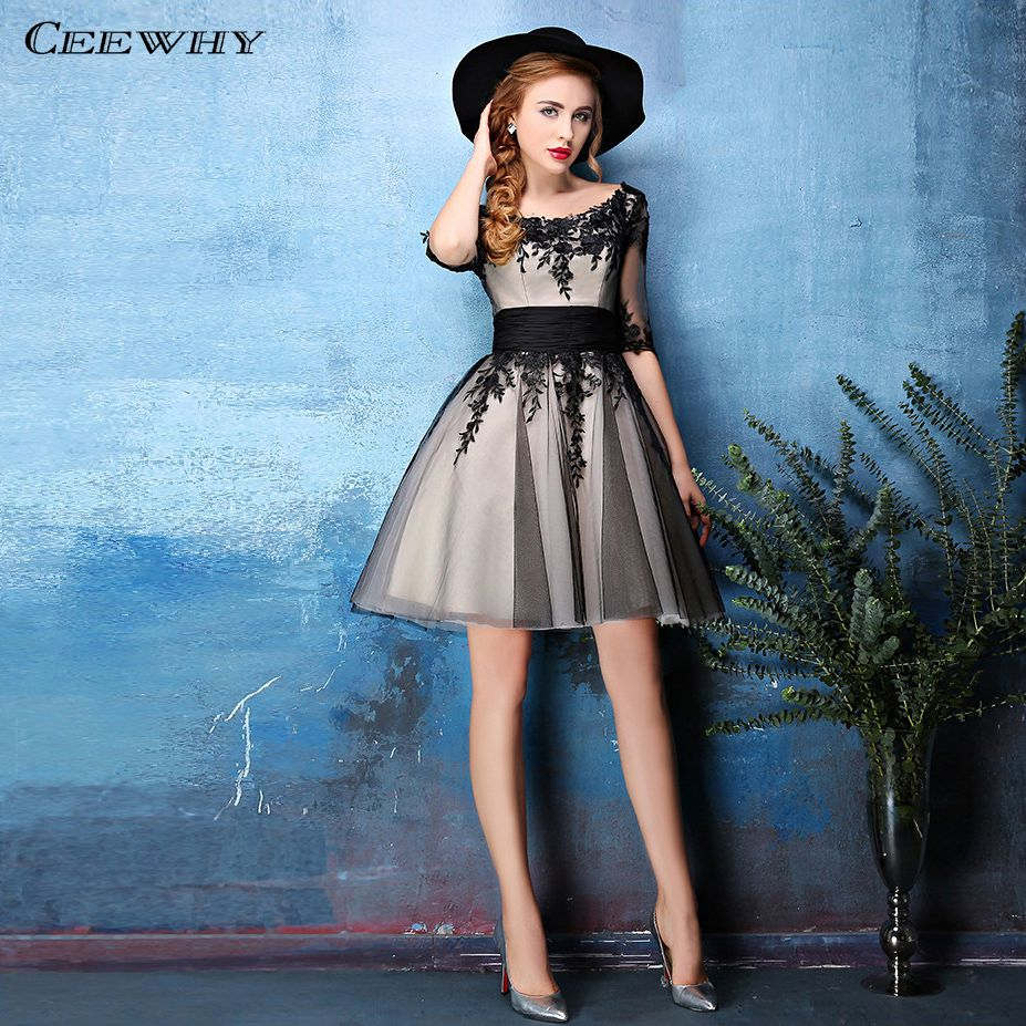Image 1 - CEEWHY Half Sleeve Cocktail Dresses Tulle Appliques Short Prom Party Dress 2019 Vestidos de Coctel Graduation Dresses-in Cocktail Dresses from Weddings & Events