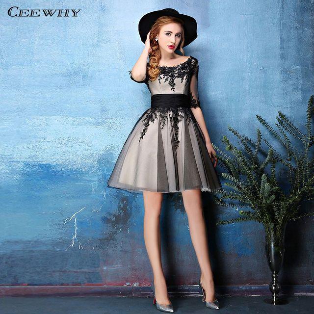 CEEWHY Half Sleeve Cocktail Dresses Tulle Appliques Short Prom Party Dress 2019 Vestidos de Coctel Graduation Dresses