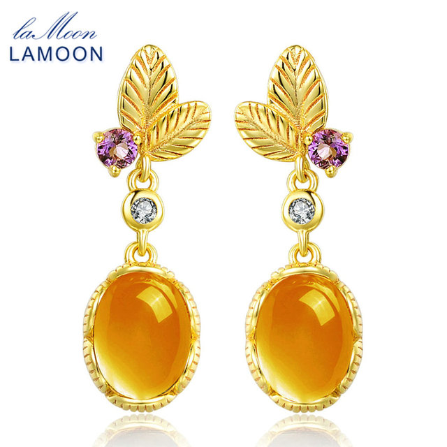URING- 6x8mm 3.2 Carat 100% Natural Oval Citrine 925 Sterling Silver Jewelry 14K Yellow Gold Plated Drop Earrings S925 LMEI007