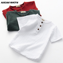 Kids Short-sleeve T-shirts Cotton Linen Children's Clothing 2018 Summer O-neck 2-8y Baby Boys T Shirt Solid Color Casual Button