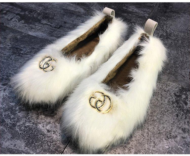 Fond 2 18 Unique Vison Et 1 Femmes Plus De Chaussures Automne Velours Cheveux D'hiver Haricots Plat wwHTqFgRx