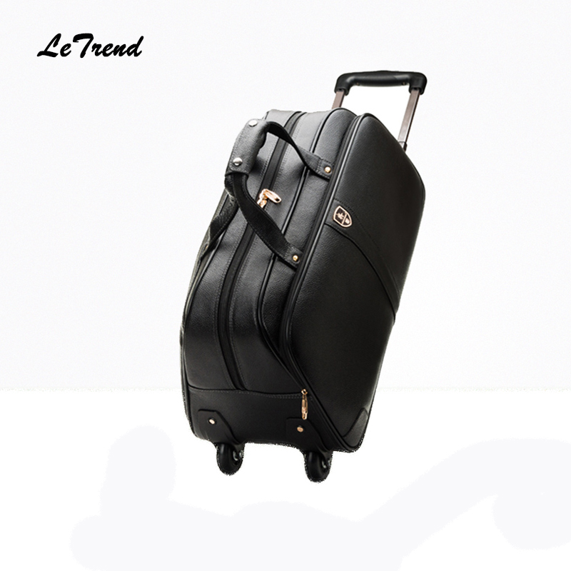 LeTrend 100% Genuine Leather Travel Bag Rolling Luggage Spinner Suitcases Wheel 20 inch Carry On Shoulder Bags Men's Handbags free shipping original rolling wheel axis kit parrot minidrones rolling spider parts genuine