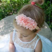 Naturalwell font b Baby b font girls Flower Headband Chiffon Flowers Headbands 2 Tulle Puff Flower