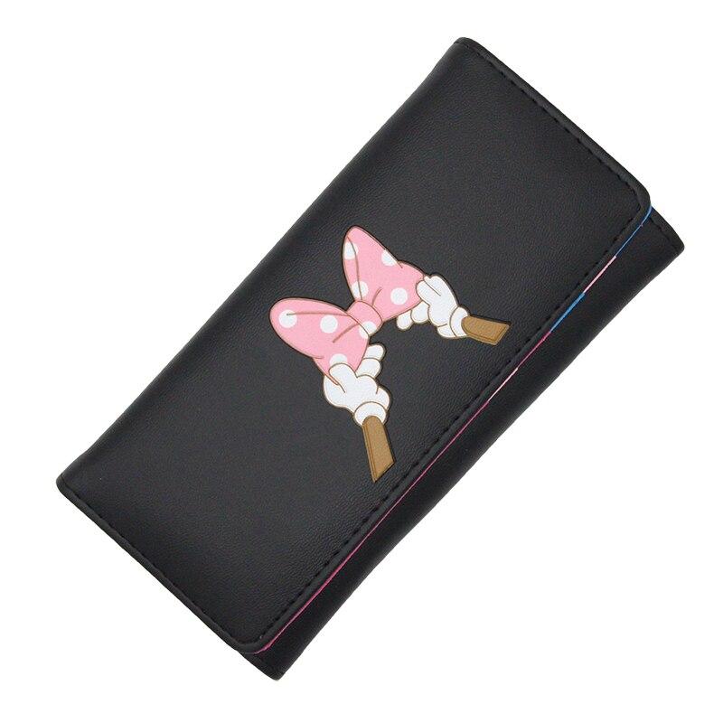 BOTUSI Carton Bow Lady Purses Handbags Brand Design Women Wallet PU Leather Money Coin Purse Cards ID Holder Cartoon Printing