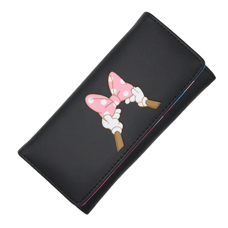 BOTUSI Carton Bow Lady Purses Handbags Brand Design Women Wallet PU Leather Money Coin Purse Cards ID Holder Cartoon Printing
