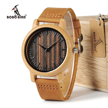 BOBO BIRD WH08 Bamboo Watch Wooden Dial Face with Scale Men Quartz Watches Leather Straps relojes mujer marca de lujo