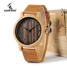 BOBO OISEAU WH08 Bambou Montre En Bois Cadran Visage avec Échelle hommes Montres À Quartz En Cuir Sangles relojes mujer marca de lujo 2017