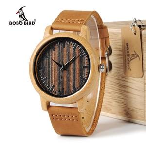 Image 1 - BOBO BIRD WH08 reloj de bambú pantalla de la esfera de madera con escala hombres cuarzo relojes con correas de cuero relojes mujer marca de lujo