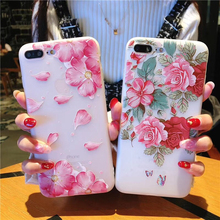 3D Relief TPU Case For iPhone 5 5s SE 6 6S 7 8 Plus Luxury Floral Painted Rose Flower Cell Cover for iphone X XR XS Phone Cases