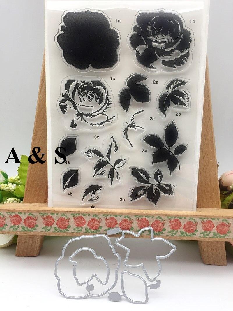 KC19 Rose Flower Leaf Metal Cutting Dies Or Transparent Clear Stamp For Scrapbooking DIY Embossing Folder Template Crafts