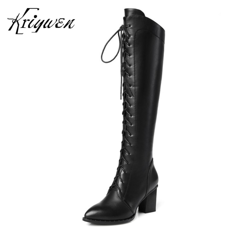 Large size 34-42 New Arrivals Winter Warm Women Shoes genuine leather Knee High Boots Fashion black Solid Woman lady Boots 2017 winter new arrivals cheap price high quality black suede leather gold studded over the knee boots women boots size 35 42
