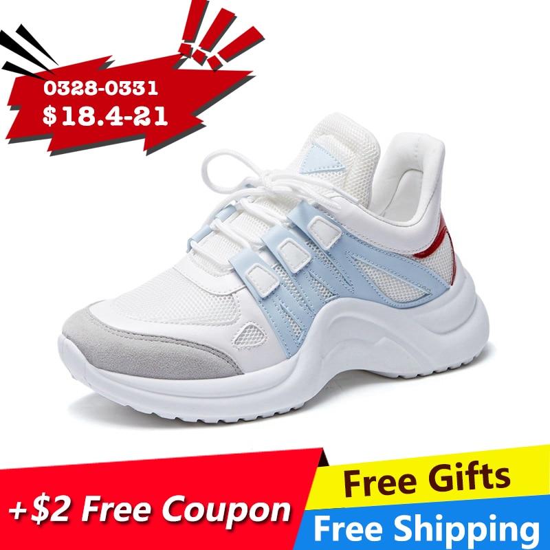 Фуцзинь кроссовки Для женщин 2019 Повседневная обувь с сетчатым верхом из дышащего материала Женская мода кроссовки на шнуровке для отдыха Для женщин Вулканизированная обувь на платформе купить на AliExpress