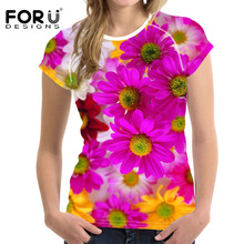 FORUDESIGNS Women tshirt Clothing Summer Mum T shirt Rose Floral t-shirt Casual Harajuku Style tee Femme Vegan Vogue Tops
