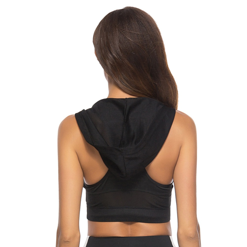 Foto from back Sport's Bra Top with Push Up for women. Women's Push up top for sport the black color.