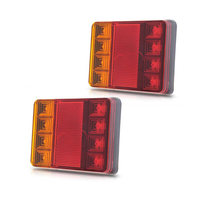 2Pcs Hot Waterproof 8 LED Car Tail Light Rear Lamps Pair DC 12V Rear Parts For