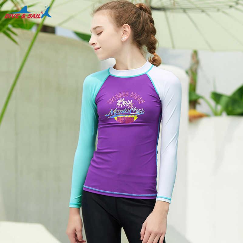 الشباب الأساسية جلود UPF 50 + طويلة/قصيرة الأكمام طفح الحرس المايوه أعلى الشمس UV حماية ملابس رياضية القمم السباحة قميص المحملة الاطفال الفتيات