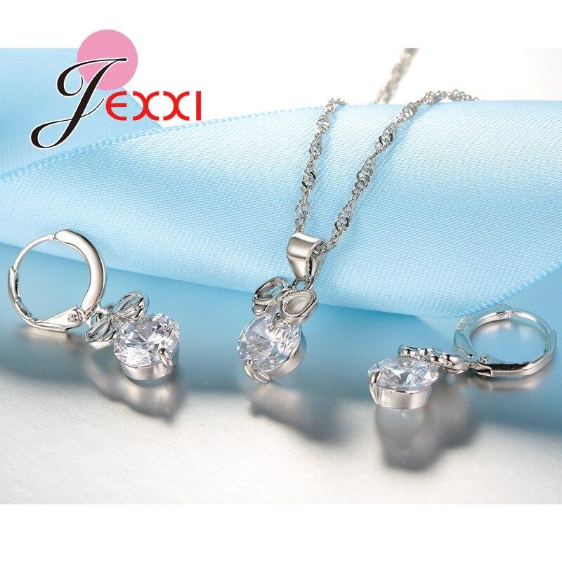Trendy Mode 925 Sterling Silber Braut Hochzeit Zubehör Schmuck Set Kristall Drop Bowknot Anhänger Halskette Ohrringe