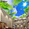 Beibehang Custom Wallpaper Beautiful Blue Sky White Clouds Coconut Trees Seascape Sunshine Ceiling Zombie 3d Wall