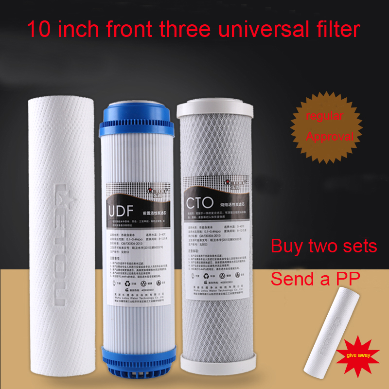 Water Purifier 10-inch universal PP cotton + granular activated carbon + compressed carbon water filter 3pc/set factory direct sales 2 level direct drinking water purifier pre filter water filter granular activated carbon ppf cotton