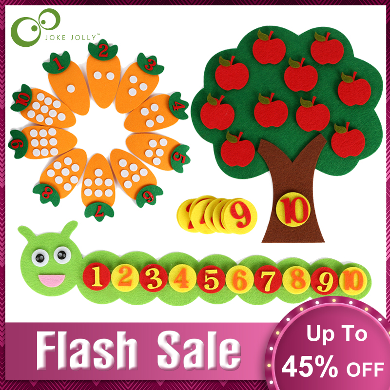 1-10 Montessori Educational Toy Children's Puzzle Handmade DIY Toy Kindergarten Carrot Apple Tree Match Digital Teaching GYH
