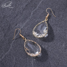 Badu Transparent Water Drop Crystal Dangle Earring 2018 Trendy Jewelry for Party Women Faceted Earrings 7 Colors