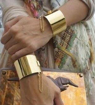 Высокое Качество Роскошный Золотой/Посеребренные Личности Преувеличивать Панк Манжеты Браслеты Браслеты Для Женщин Бесплатная Доставка