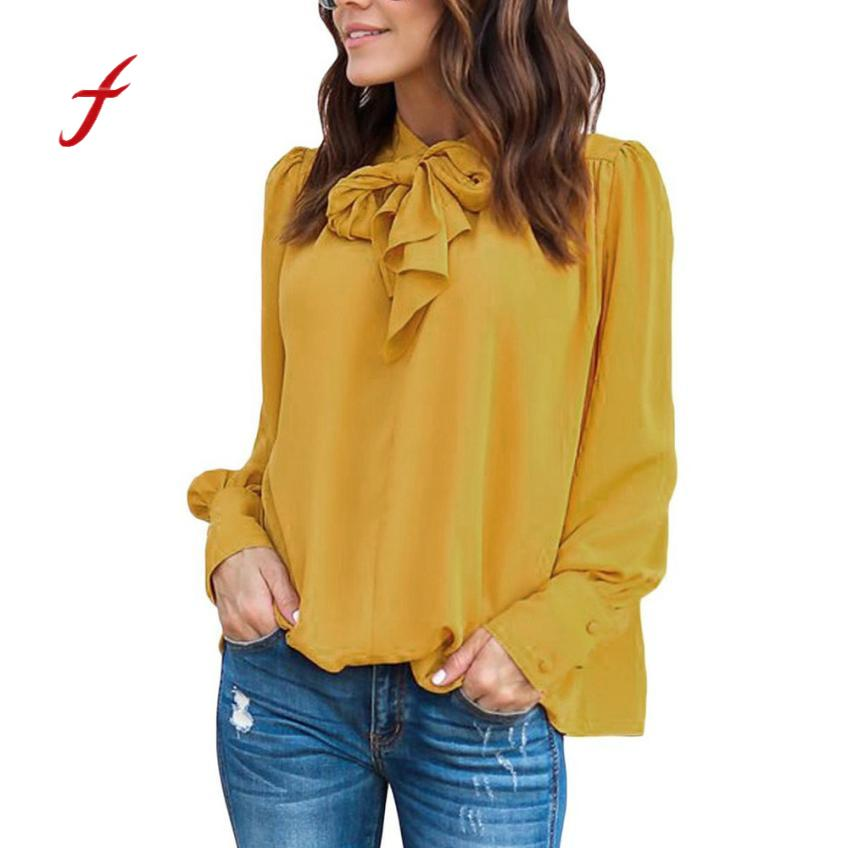 Feitong Chiffon Fashion Women Blouse Long Sleeve Bow Solid V-Neck Shirt Casual Shirts Top camiseta mujer